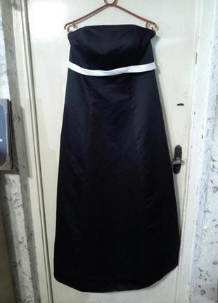 Элегантное,женственное,чёрное платье-бюстье в пол,на подкладке...