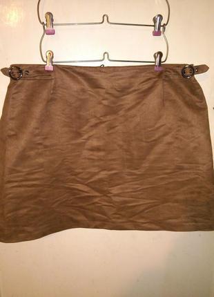 """Стильная юбка -""""под замш"""", с карманами и регулир.ремешками,сос..."""