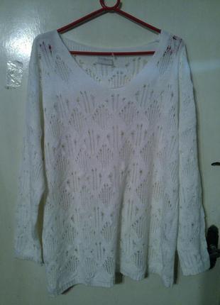 Красивейший,воздушный,ажурный,белоснежный,мягкий свитер,большо...