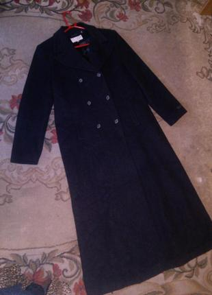 Двубортное,в пол,шерсть-кашемир,элегантное пальто на высокую,б...