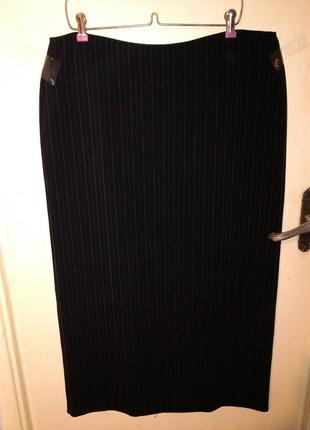 Элегантная,длинная,чёрная юбка-карандаш в тонен. полоску,с под...