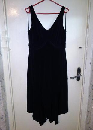 Элегантное,трикотаж-масло,асимметричное,длинное,чёрное платье,...