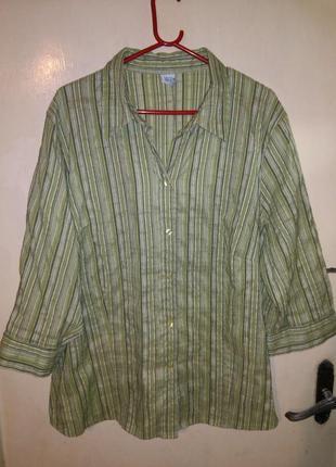 Приятная,эластичная,весенняя блуза-рубашка на пуговицах,бол.52...