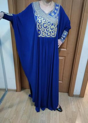 """Роскошное,восточное платье-балахон,в пол,""""золото"""",вышивка,камн..."""