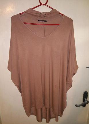 Трикотажная,эластичная блуза с удлиненной спинкой,с чокером,бо...