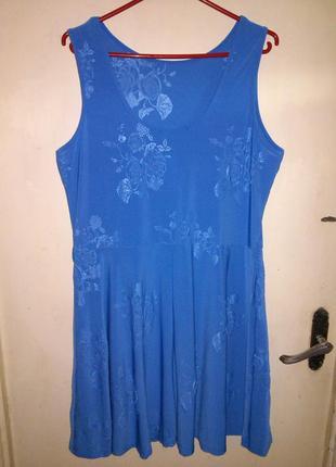 Красивое,трикотаж-масло,эластичное платье с  фактурным принтом...