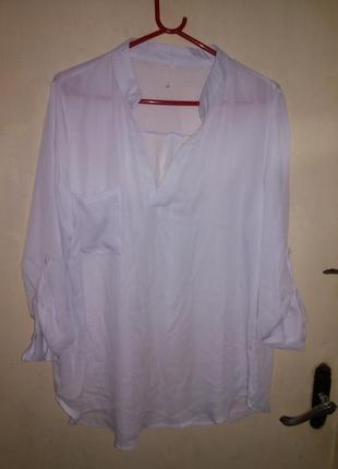 Стильная,белая блузочка с карманом, рукава-2 в 1 на пуговке,бо...