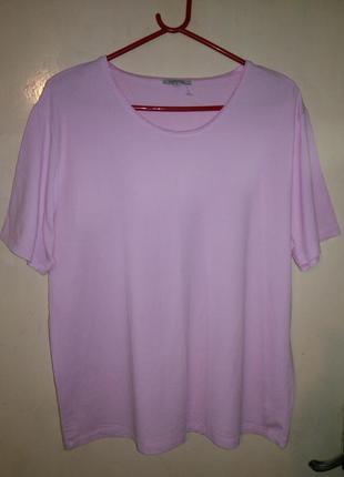Трикотажная,вискозная,стрейчевая,розовая блуза-футболка,большо...