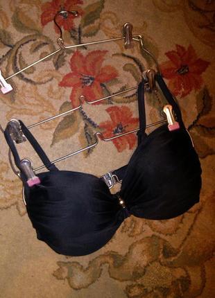 Вверх-лиф купальника- угольно-чёрный,с чашками и косточками, 4...