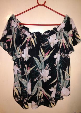 Очаровательная,яркая,стильная блузка с открытыми плечами,в цве...