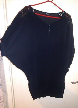 Эффектнейшая,угольно-чёрная туника-платье с кружевными вставка...