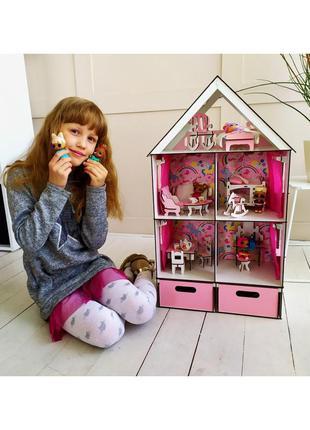 Домик для кукол little fun maxi с мебелью, текстилем и бокс для