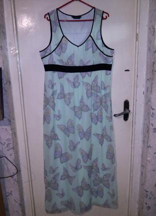 Очаровательное,длинное платье в пол,нежно-салатовое в бабочки,...