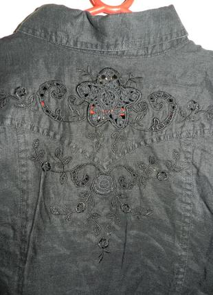 Натурал-100% лён,чёрная блуза на пуговицах,с кружевом и перфор...