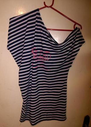 Стильная,трикотажная,стрейч, блуза-футболка на одно плечо, в м...