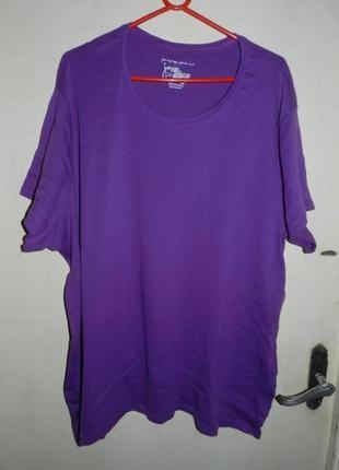 Натурал-100% коттон,трикотаж,обычная,фиолетовая футболка,30-32...