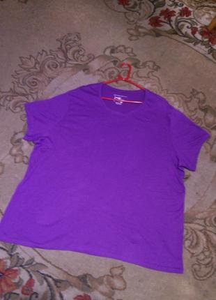 Натурал-100% коттон,трикотаж,обычная,фиолетовая футболка,26-28...