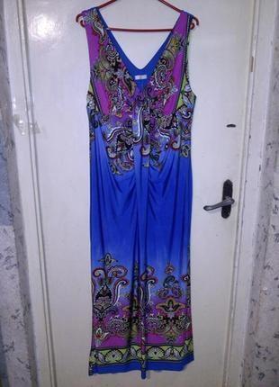 Великолепное,яркое, длинное,трикотаж-масло,платье больш.16-22 ...