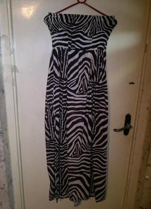 """Трикотажный,красивый, длинный- в пол,платье-сарафан """"зебра"""",бо..."""