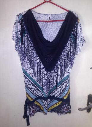Вискозная,трикотажная,оригинальная,комбинир.блуза-туника с  ба...