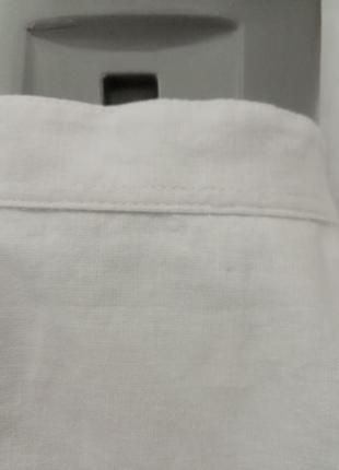 Мужская льняная рубашка с коротким рукавом воротник стоика