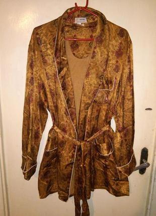 """Натурал.,""""атласный"""" халат с карманами,вышивкой и поясом,большо..."""