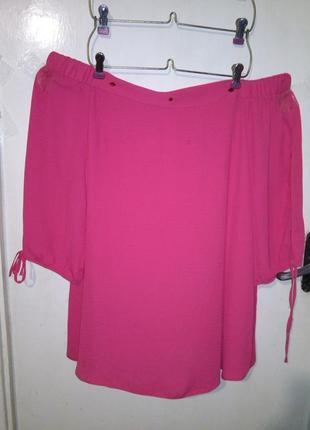 Эффектная,трендовая,яркая блуза с открытыми плечами и прорезям...