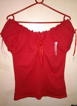 Новая,трикотаж.,коттон-эластан,ярко-красная блузка (плечи можн...