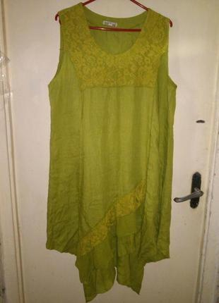 Натурал-100%лён,очаровательное,асимметричное,лаймовое платье с...