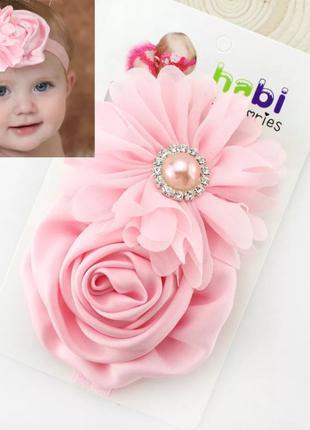 Детская повязка на голову с цветками, новая