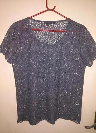 Стильная,гипюровая,серая блузка с замочком на плече,бол. разм,...