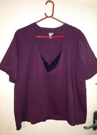 Натурал-100% коттон,трикотаж.,блуза-разлетайка с чокером и кру...