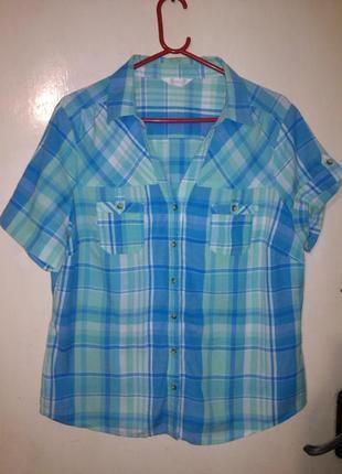 Натурал-100% хлопок,стильная рубашка в клетку,рукав 2 в 1, бол...