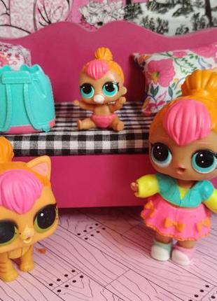 Кукла лол семья неон lol surprise набор комплект