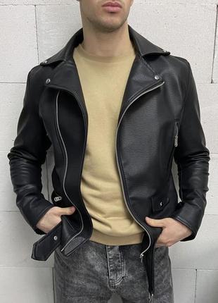 Косуха мужская кожанка черная турция / кожаная куртка чоловіча...