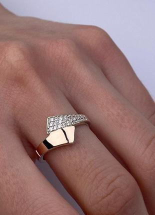 Серебряное кольцо с золотом и фианитами, 925, серебро