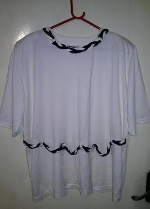 """Женственная,вискозная,трикотажная,молочная блуза с синими """"кос..."""