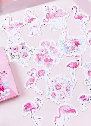 Набор наклеек, стикеров для скрапбукинга фламинго