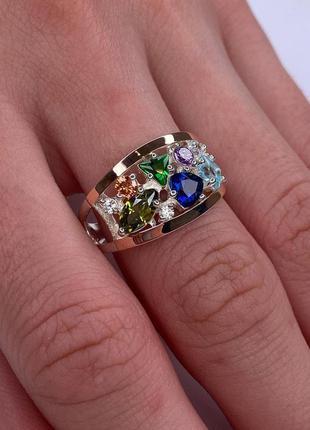 Серебряное кольцо с фианитом и золотыми напайками, 925, серебро
