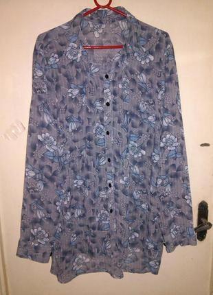Симпатичная блуза-рубашка,с удлиненной спинкой,на пуговичках,б...