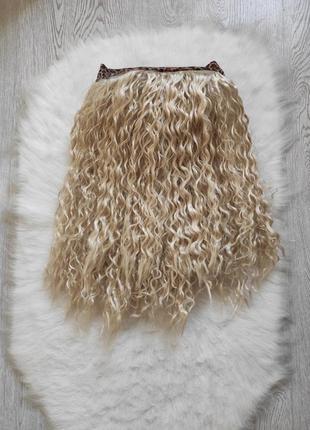 Блонд парик гофре волнистый на резинке леопард белые волосы ку...