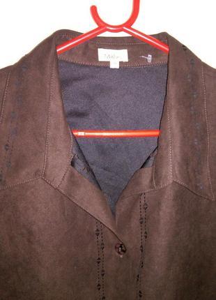 Шоколадный пиджак-рубашка-под замш,с изящной перфорацией,больш...