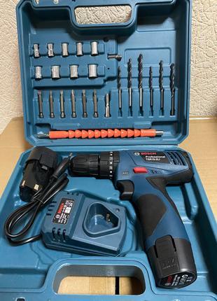 Шуруповерт Bosch TSR12-2LI (12V 3Ah Li-Ion) с набором инструменто