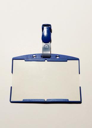 Офісний бейдж з прозорою вставкою синій