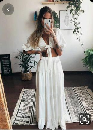 Юбка трикотажная белая длинная р.m fashion concept !
