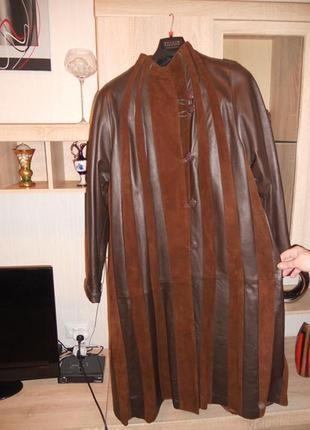 """Шикарное!!!кожаное,""""шоколадное"""",мягкое пальто-плащ с карманами..."""
