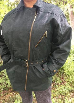 Новая,,натур.кожа,изумрудная куртка-косуха 14-18рр.с утеплител...