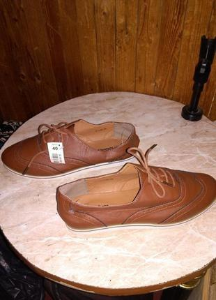 """Новые,лёгкие,коричн. туфли на шнурках,в стиле """"оксфорд"""",р.40,п..."""