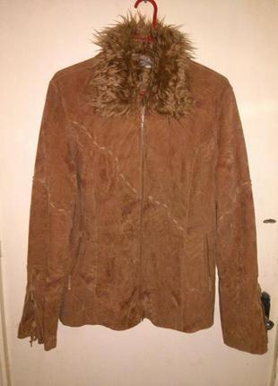 Стильная,деми-куртка-винтаж,с съёмным воротником,под замш,шнур...