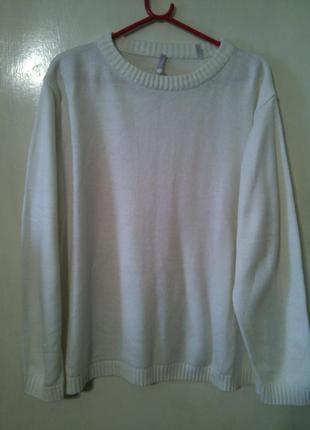 Женственный,обычный белый свитер-джемпер, большого 24-26 разме...